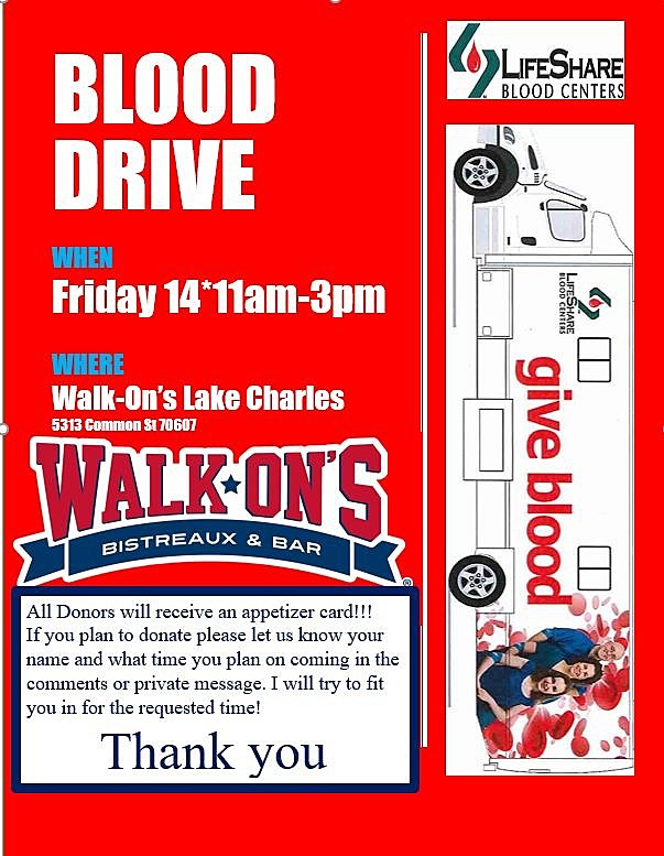 Walkons Blood Drive (Photo Provided by Walk Ons Julie)