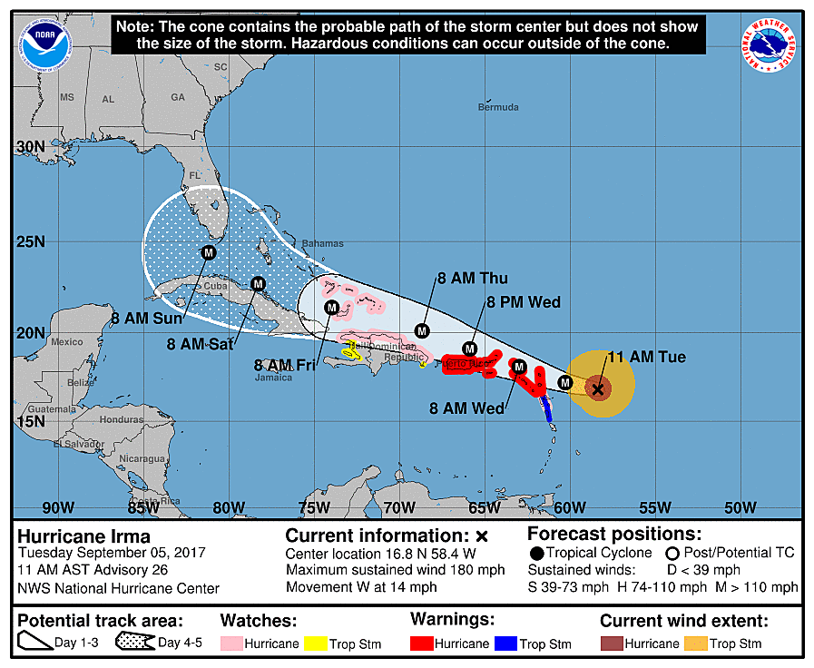 Hurricane Irma 11am Update (NOAA)