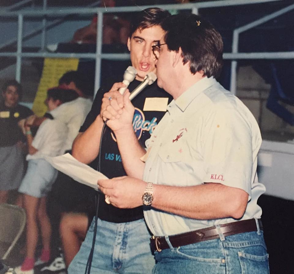 Mike Soileau & Dave Soileau Circa 1992 broadcasting Live (Photo by Mike Soileau)